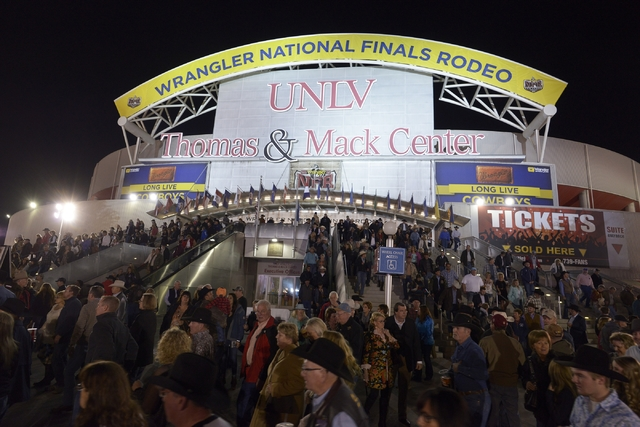 "Fans stream out of the Thomas & Mack Center on Dec. 3, 2015, after the first night of the Wrangler National Finals Rodeo. ""It's been said this is the hardest ticket in sports,"" PRCA comm ..."