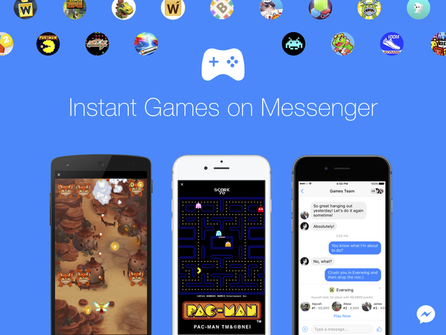 This image provided by Facebook shows a demonstration of Facebook's new option to play games with contacts on Facebook Messenger.  Beginning Tuesday, Nov. 29, 2016, the feature can be accessed in  ...