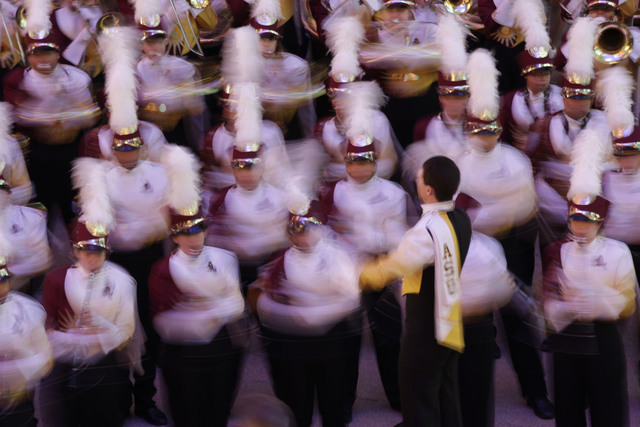 The Arizona State marching band plays during a pep rally Wednesday, Dec. 21, 2011, in Las Vegas. Arizona State will play Boise State in the Maaco Bowl on Thursday. (Julie Jacobson/AP)