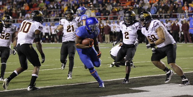 Boise State Broncos running back D.J. Harper (7) steps into the end zone untouched by the Arizona State defense during the fourth quarter of the Maaco Bowl NCAA college football game, Thursday, De ...
