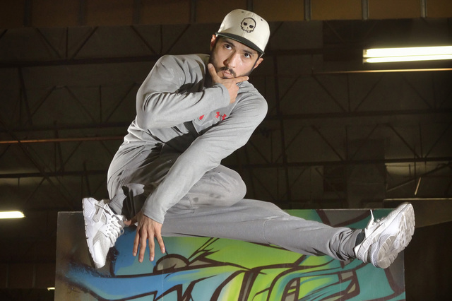 Abenamar Honrubia, aka BenStacks, rehearses for the Red Bull BC One world championship at the Hardcore Parkour studio at 3680 N. 5th St. in North Las Vegas on Tuesday, Nov. 15, 2016. The break dan ...