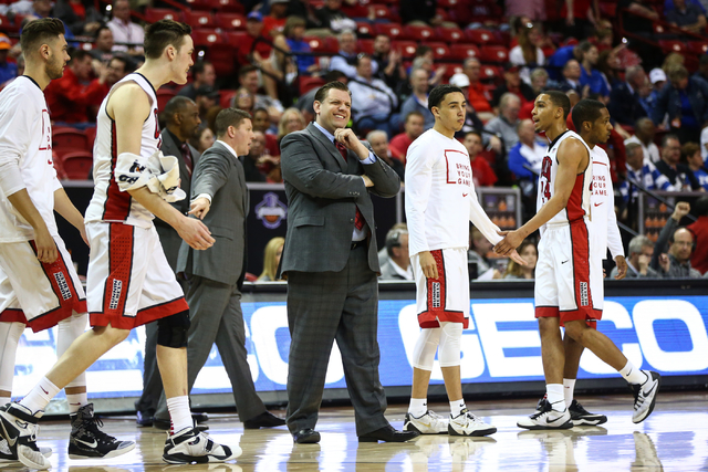 UNLV interim head coach Todd Simon reacts as the time goes into a timeout while playing Air Force during the Mountain West Conference basketball tournament at the Thomas & Mack Center in Las V ...
