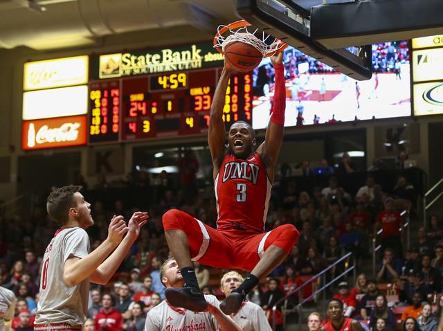 UNLV forward Tyrell Green (3) dunks against Southern Utah during a basketball game at the Centrum Arena in Cedar City, Utah on Wednesday, Nov. 30, 2016. Chase Stevens/Las Vegas Review-Journal Foll ...