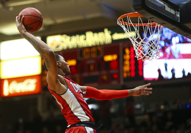 UNLV forward Troy Baxter Jr. (31) goes up to dunk against Southern Utah during a basketball game at the Centrum Arena in Cedar City, Utah on Wednesday, Nov. 30, 2016. Chase Stevens/Las Vegas Revie ...