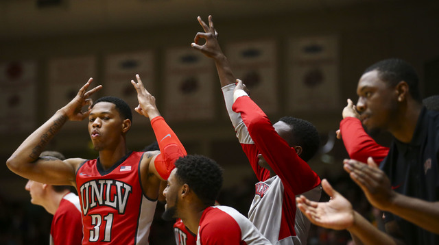UNLV players react after a three-pointer was scored against Southern Utah during a basketball game at the Centrum Arena in Cedar City, Utah on Wednesday, Nov. 30, 2016. UNLV won 89-81. Chase Steve ...