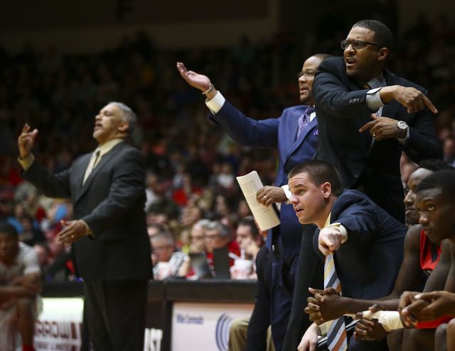 UNLV coaching staff direct players as they play against Southern Utah during a basketball game at the Centrum Arena in Cedar City, Utah on Wednesday, Nov. 30, 2016. UNLV won 89-81. Chase Stevens/L ...