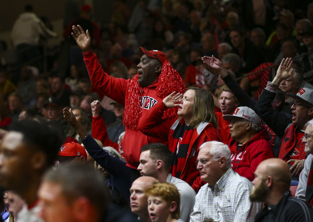 UNLV fans cheer as their team plays Southern Utah during a basketball game at the Centrum Arena in Cedar City, Utah on Wednesday, Nov. 30, 2016. UNLV won 89-81. Chase Stevens/Las Vegas Review-Jour ...