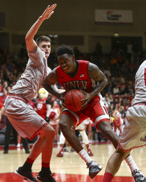 UNLV forward Dwayne Morgan (15) drives to the basket against Southern Utah during a basketball game at the Centrum Arena in Cedar City, Utah on Wednesday, Nov. 30, 2016. UNLV won 89-81. Chase Stev ...