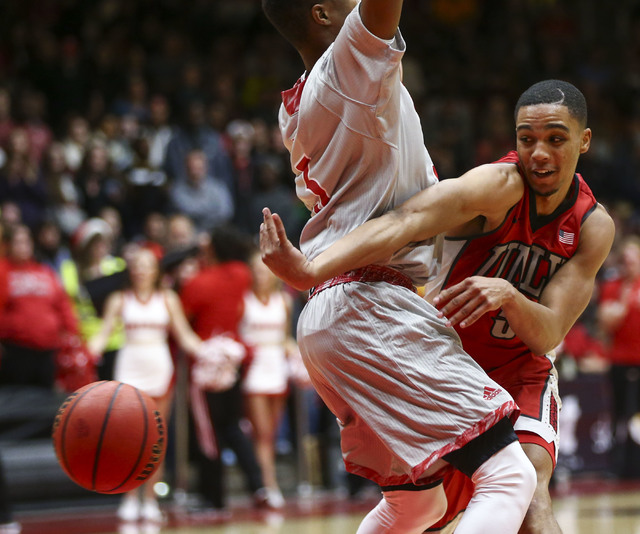 UNLV guard Jalen Poyser (5) makes a pass while playing against Southern Utah during a basketball game at the Centrum Arena in Cedar City, Utah on Wednesday, Nov. 30, 2016. UNLV won 89-81. Chase St ...