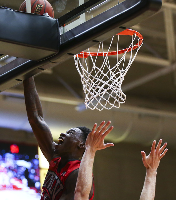 UNLV forward Dwayne Morgan (15) goes up to score against Southern Utah during a basketball game at the Centrum Arena in Cedar City, Utah on Wednesday, Nov. 30, 2016. UNLV won 89-81. Chase Stevens/ ...