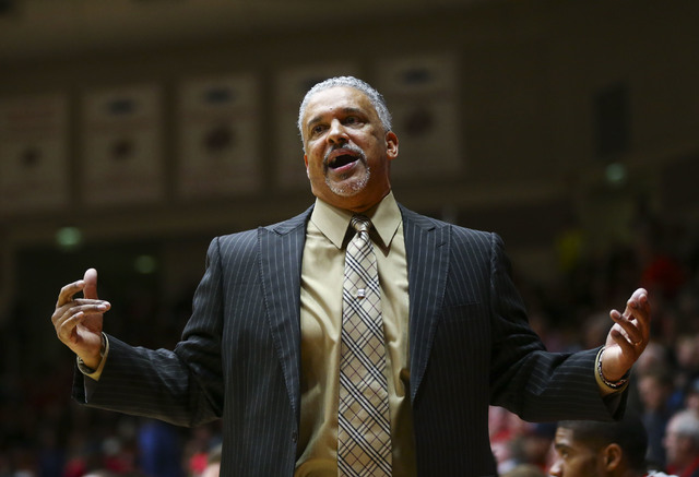 UNLV head coach Marvin Menzies reacts during a basketball game against Southern Utah at the Centrum Arena in Cedar City, Utah on Wednesday, Nov. 30, 2016. UNLV won 89-81. Chase Stevens/Las Vegas R ...