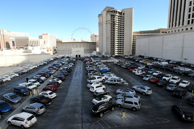 Caesars Palace parking in Las Vegas on Wednesday, Nov. 30, 2016. Caesars Entertainment Corp. announced Tuesday it will begin phasing in a paid parking initiative late next month. (K.M. Cannon/Las  ...