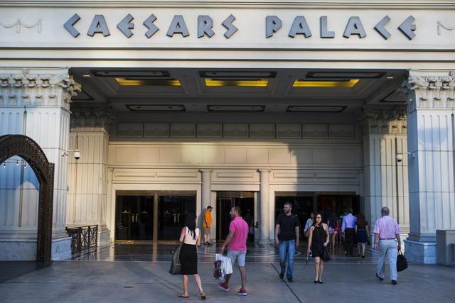 The exterior of Caesars Palace hotel-casino is shown in Las Vegas on Wednesday, May 18, 2016. (Chase Stevens/Las Vegas Review-Journal) Follow @csstevensphoto