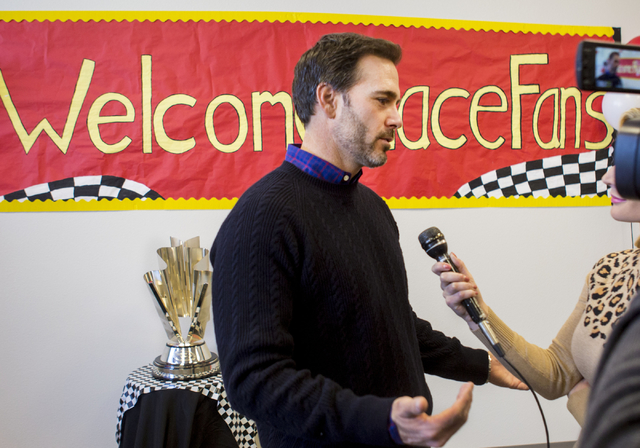Jimmie Johnson, reigning NASCAR Sprint Cup Series Champion, is interviewed at Doral Academy Red Rock - Upper/High School on Wednesday, Nov. 30, 2016, Las Vegas. Elizabeth Page Brumley/Las Vegas Re ...