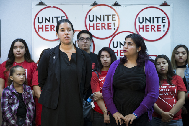 Yvanna Cancela, left, political director for Local 226, and immigration activist Astrid Silva speak during a press conference at the Culinary Union Local 226 headquarters on Wednesday, Nov. 9, 201 ...