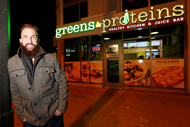 Greens & Proteins managing partner Greg Jarmolowich poses for a photo in front of his shop at The Juhl in downtown Las Vegas, Monday, Nov. 28, 2016. Chitose Suzuki/Las Vegas Review-Journal