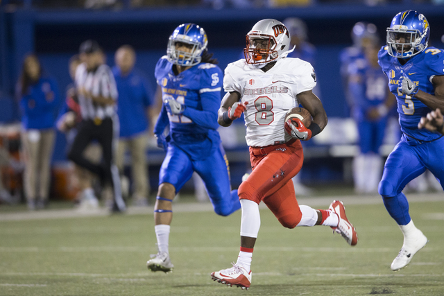 UNLV Rebels running back Charles Williams (8) runs the ball for a touchdown against the San Jose State Spartans at CEFCU Stadium on Saturday, Oct. 29, 2016, in San Jose. (Erik Verduzco/Las Vegas R ...