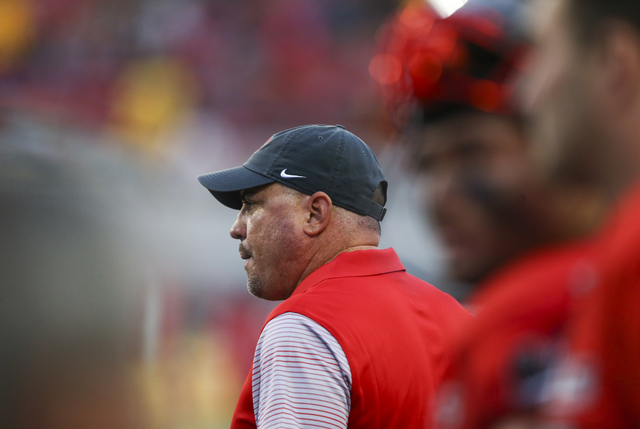 UNLV head coach Tony Sanchez looks on during a football game against Wyoming at Sam Boyd Stadium in Las Vegas on Saturday, Nov. 12, 2016. UNLV defeated Wyoming 69-66 in triple overtime. (Chase Ste ...