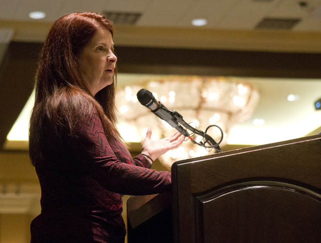 Henderson City Councilwoman Debra March speaks about a bill aimed at decreasing the number of squatters living in vacant homes on Friday, April 7, 2016. (Daniel Clark/Las Vegas Review-Journal) Fol ...