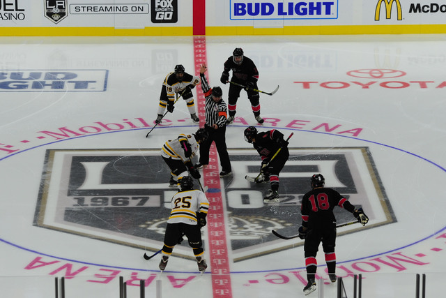 UNLV and Arizona State face off during their ACHA Division II club hockey game at T-Mobile Arena  in Las Vegas Sunday, Oct. 9, 2016. (Josh Holmberg/Las Vegas Review-Journal)