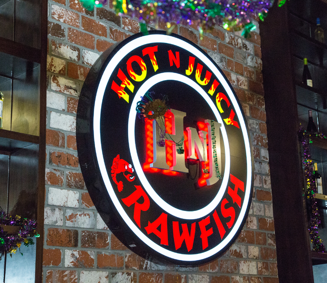 A sign is shown on the wall inside Hot N Juicy Crawfish at 9560 S. Eastern Ave., Henderson, Saturday, Feb. 14, 2015. (Donavon Lockett/Las Vegas Review-Journal)