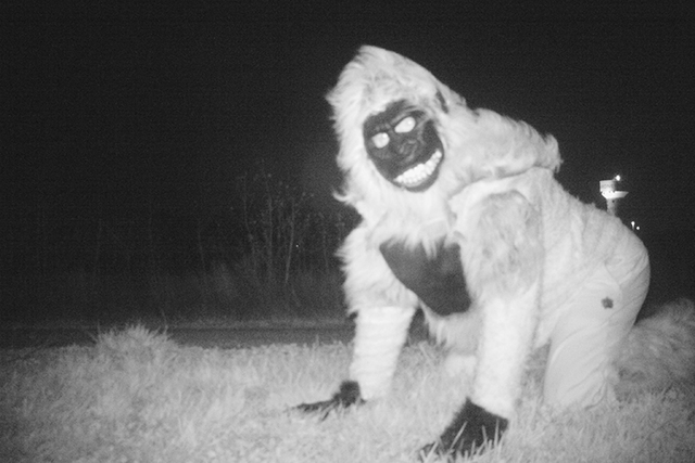 A person dressed in a gorilla costume was captured on one of the two motion-activated cameras intended to investigate reports of mountain lions at a park in Gardner, Kansas. (Gardner Police Depart ...