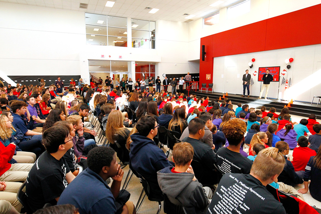 Jimmie Johnson and Chad Knaus visit with students at Doral Academy of Nevada as part of NASCAR Champion's Week in Las Vegas, NV. (Photo by Jeff Speer/LVMS)