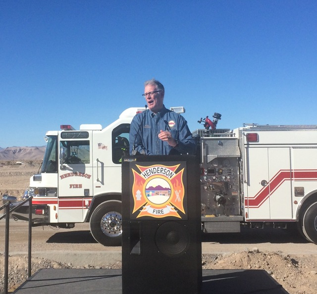 Henderson Mayor Andy Hafen speaks during a groundbreaking ceremony for Fire Station 91, the city's 10th fire station and the first new station to open in 15 years, Tuesday, Nov. 29, 2016. Fire Sta ...