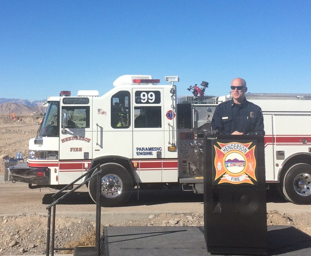 Henderson Fire Chief Matthew Morris speaks during a groundbreaking ceremony for Fire Station 91, the city's 10th fire station and the first new station to open in 15 years, Tuesday, Nov. 29, 2016. ...