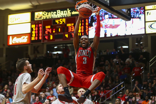 UNLV forward Tyrell Green (3) dunks against Southern Utah during a basketball game at the Centrum Arena in Cedar City, Utah on Wednesday, Nov. 30, 2016. Chase Stevens/Las Vegas Review-Journal Foll ...