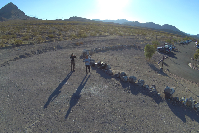 A small team from the Nevada Institute for Autonomous Systems conducts a drone flight at the Nevada State College campus on Monday, Nov. 7, 2016. (Brett Kanda/NIAS)