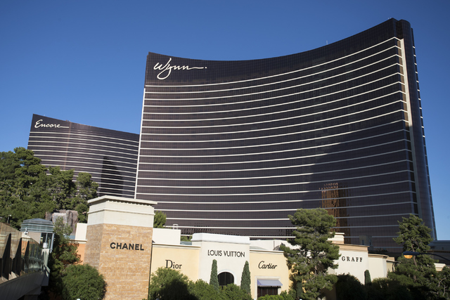 The Encore and Wynn hotel-casinos are shown at the Las Vegas Strip on Wednesday, Nov. 2, 2016. (Loren Townsley/Las Vegas Review-Journal) Follow @lorentownsley
