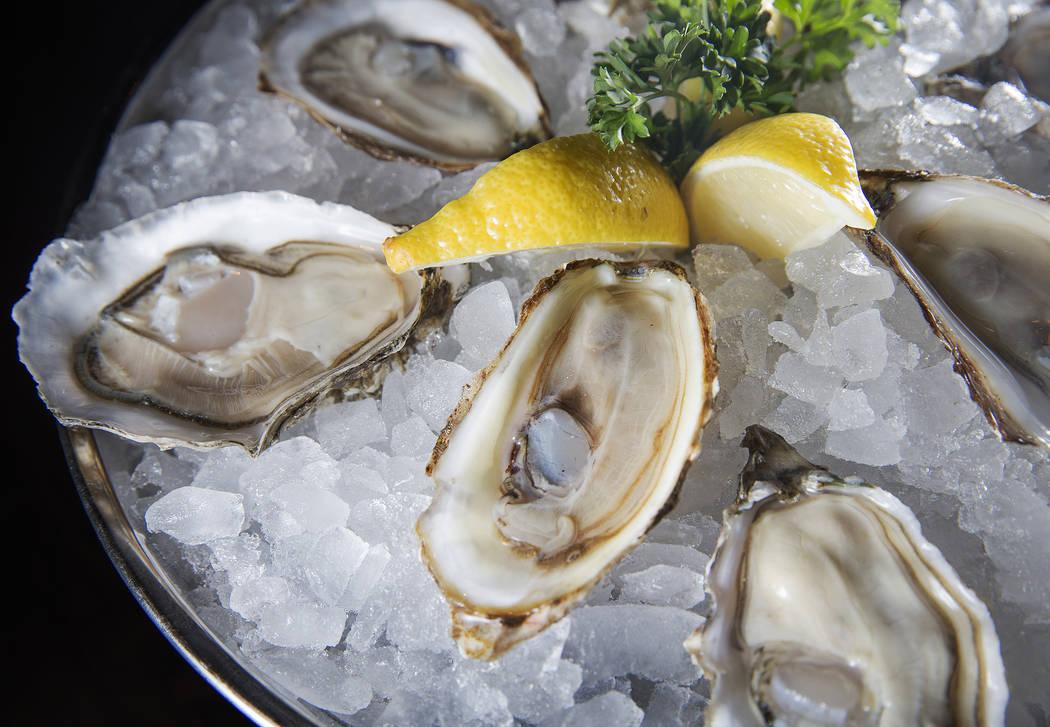 Raw west coast oysters at Blue Ribbon on Thursday, Nov. 16, 2017, at The Cosmopolitan, in Las Vegas.  Benjamin Hager Las Vegas Review-Journal @benjaminhphoto