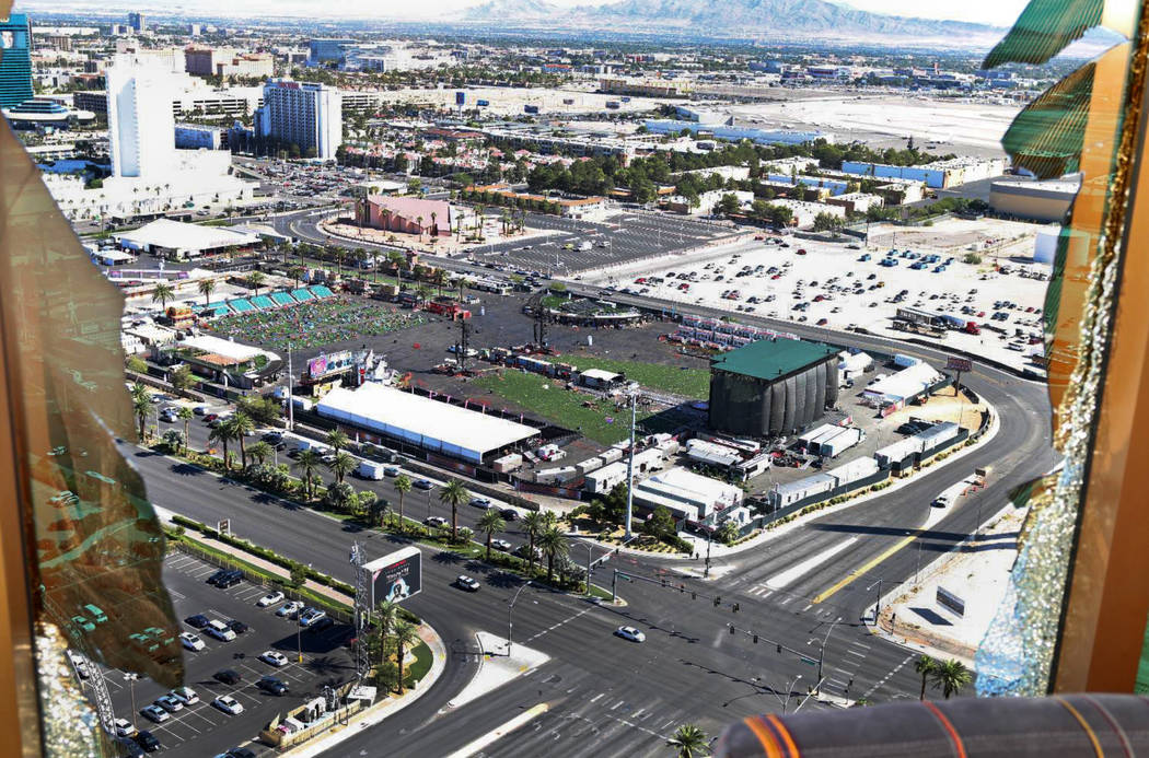 View of the Las Vegas Village from room 32-135. Las Vegas Metropolitan Police Department