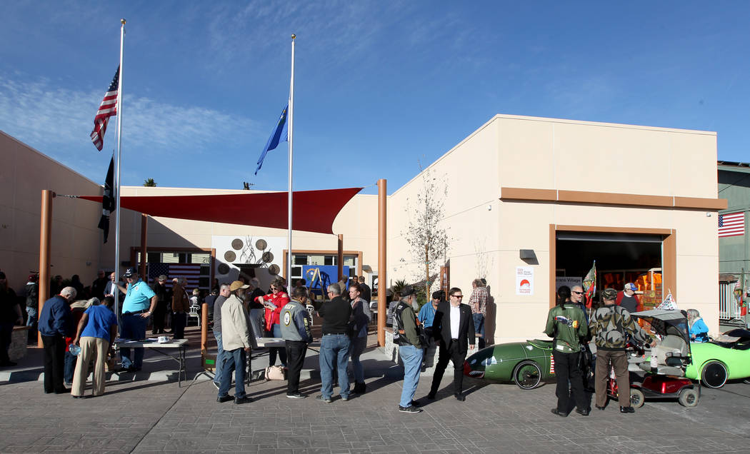 Veterans and supporters gather at Veterans Village 2 in downtown Las Vegas Wednesday, Jan. 24, 2018, to hear Republican gubernatorial candidate Nevada Attorney General Adam Laxalt. (K.M. Cannon/La ...