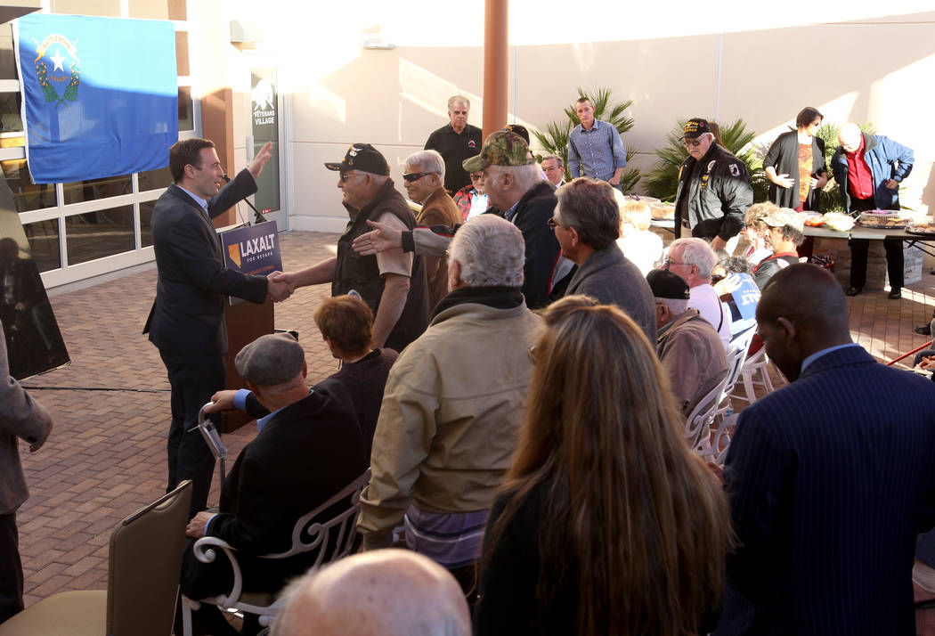 Republican gubernatorial candidate Nevada Attorney General Adam Laxalt greets supporters after speaking at Veterans Village in downtown Las Vegas Wednesday, Jan. 24, 2018. (K.M. Cannon/Las Vegas R ...