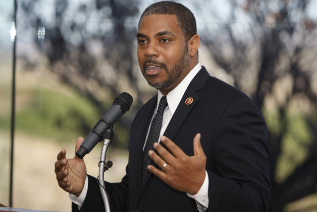 Former U.S. Rep. Steven Horsford, speaking on Dec. 22, 2014, at Las Vegas Paiute Resort after Tule Springs was designated Nevada's only national monument, announced Thursday that he will enter t ...
