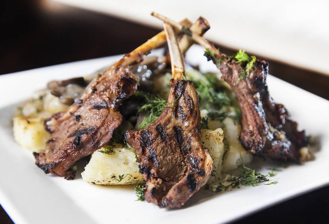 Lamb chops with mushroom sauce and potatoes at BG Bistro on Thursday, January 18, 2018, in Las Vegas. Benjamin Hager Las Vegas Review-Journal @benjaminhphoto