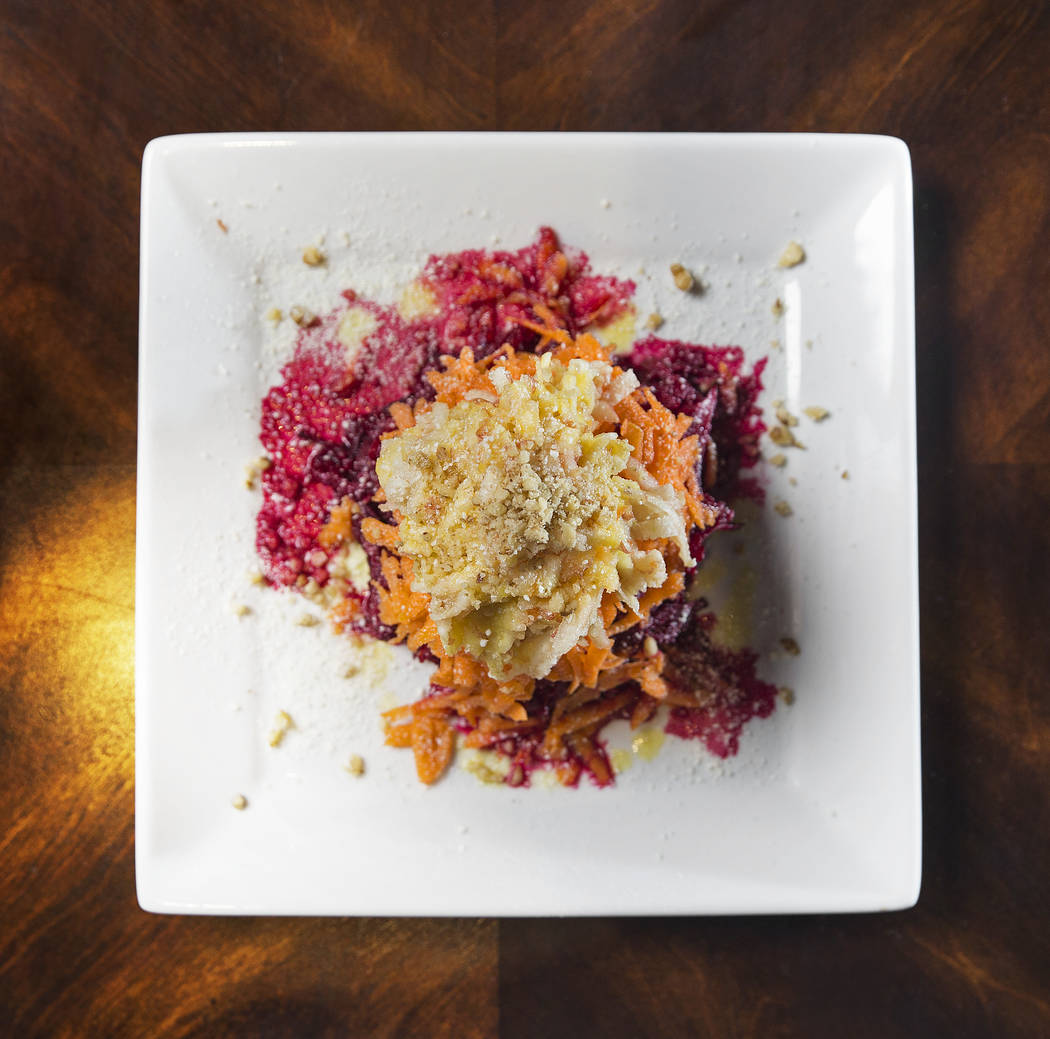 Vitamin salad with beetroot, carrots, apples, crushed walnut and dressing at BG Bistro on Thursday, January 18, 2018, in Las Vegas. Benjamin Hager Las Vegas Review-Journal @benjaminhphoto