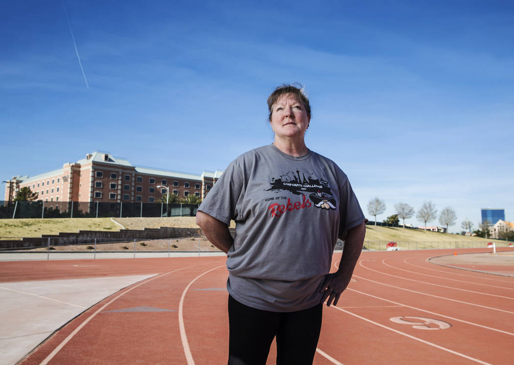 UNLV Corporate Challenge team coordinator Kathleen Lauckner at Myron Partridge Stadium / Sheila Tarr Track on Wednesday, Jan. 31, 2018, at UNLV, in Las Vegas. Benjamin Hager Las Vegas Review-Journ ...