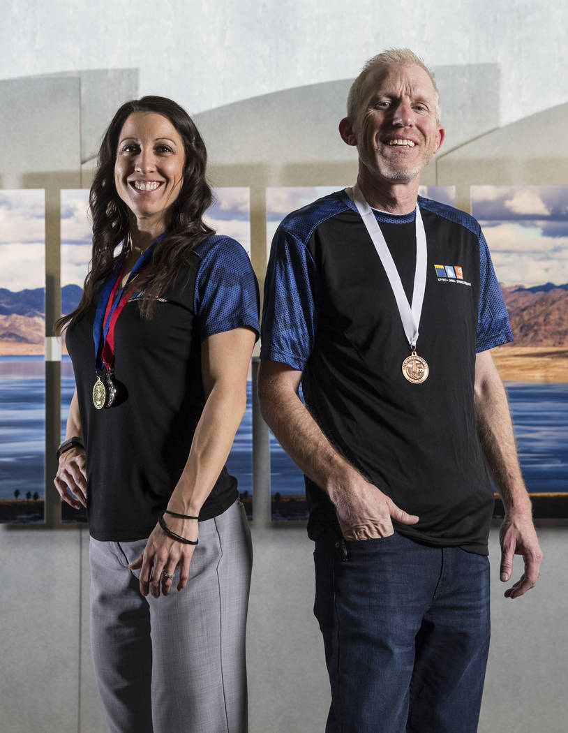 Corporate Challenge participants Jessica Brown, left, and Bronson Mack on Wednesday, Jan. 31, 2018, at the Las Vegas Valley Water District, in Las Vegas. Benjamin Hager Las Vegas Review-Journal @b ...