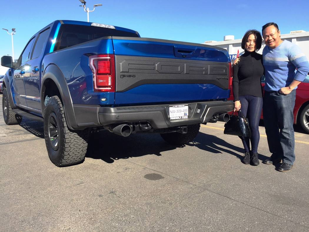 Friendly Ford Marenda and Ron Mariano are seen with their 2018 Ford F-150 Raptor purchased from Friendly Ford.
