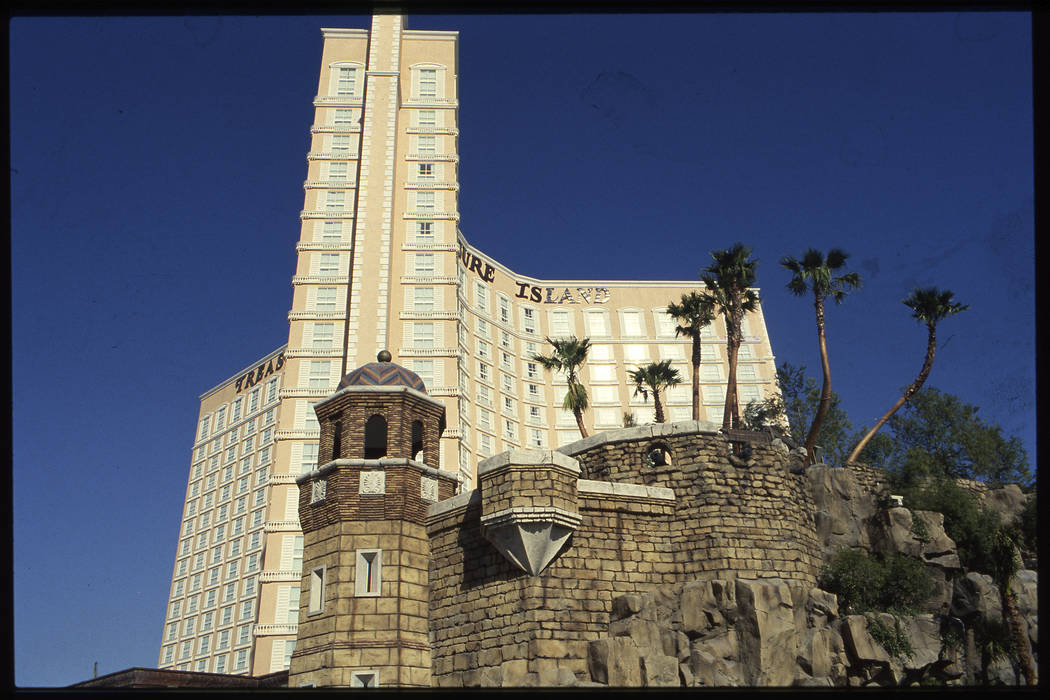 The exterior of the pirate-themed Treasure Island hotel and casino which is scheduled to open October 27th. This is for a story where three local architects critique the three opening hotels on th ...