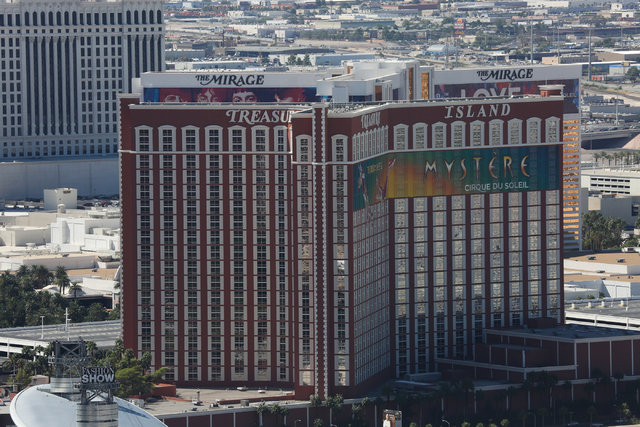 The Mirage and Treasure Island casino-hotels in Las Vegas are seen on Monday, Sept. 26, 2016. Brett Le Blanc/Las Vegas Review-Journal Follow @bleblancphoto
