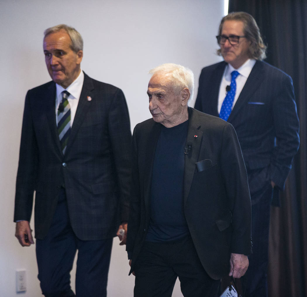 Famed architect Frank Gehry, center, who was named the 2018 Design Icon by Las Vegas Market, alongside philanthropist Larry Ruvo, left, and International Market Centers CEO Robert Maricich before  ...