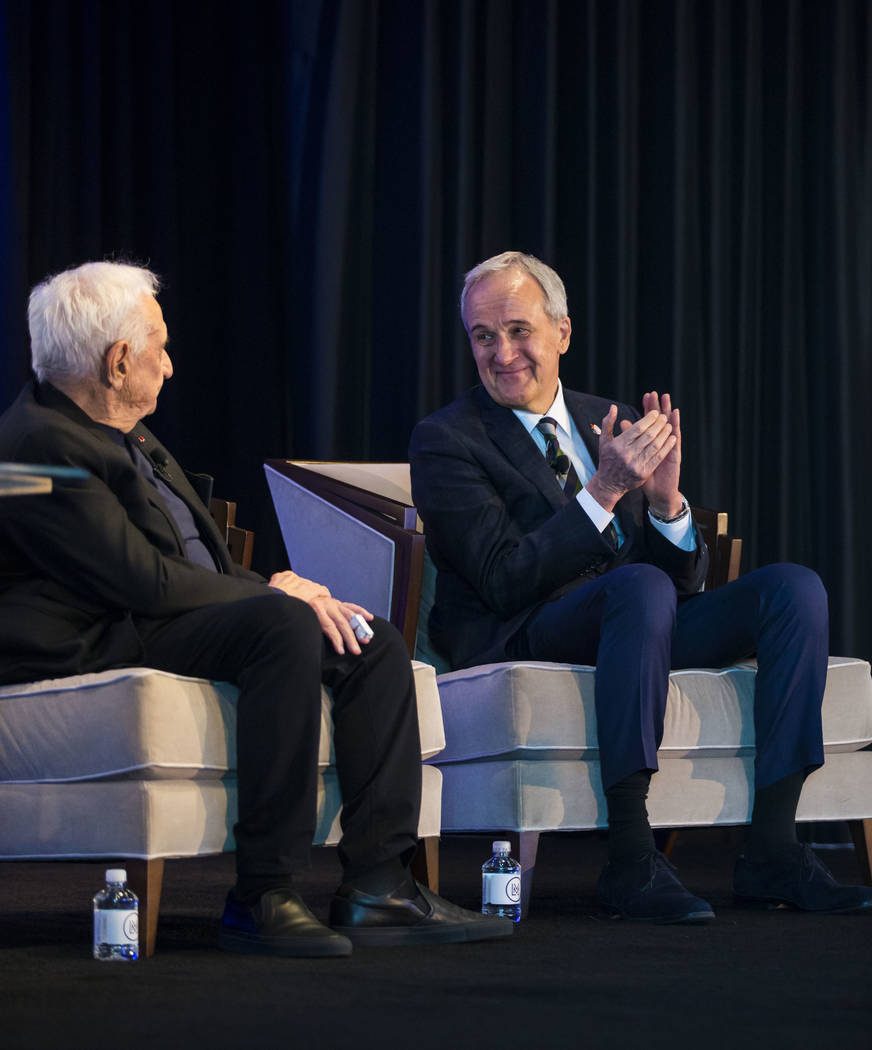 Famed architect Frank Gehry, left, who was named the 2018 Design Icon by Las Vegas Market, is introduced during an event honoring him during the Las Vegas Market at the World Market Center in Las  ...