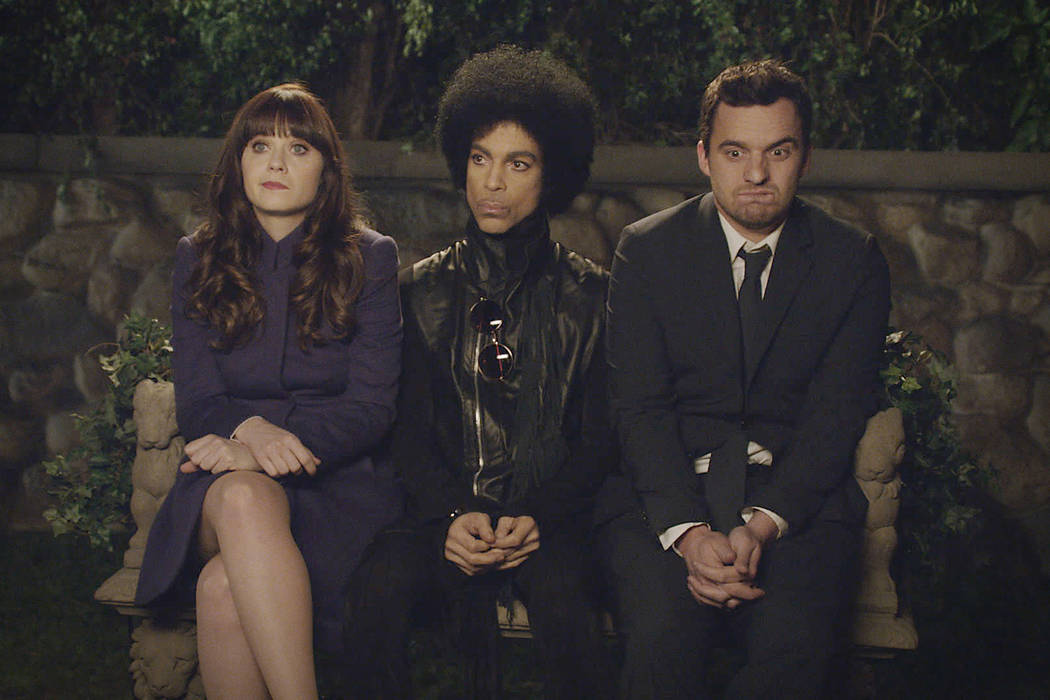 """Music royalty Prince made a special guest appearance in the """"Party Time"""" episode of """"New Girl"""" Sunday, Feb. 2 on FOX.  Also pictured:  Zooey Deschanel and Jake Johnson.  ©2014 Fox Broadcasting Co ..."""
