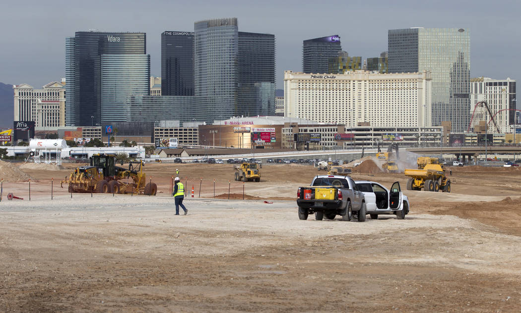 The site of the future Raiders football stadium in Las Vegas, Tuesday, Jan. 2, 2018. Erik Verduzco Las Vegas Review-Journal @Erik_Verduzco