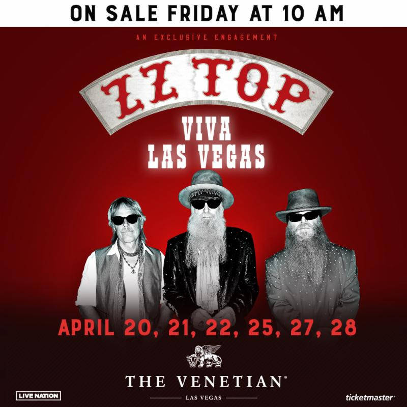 A promotional image for ZZ Top's five-show engagement at The Venetian Theater in April. (Live Nation)