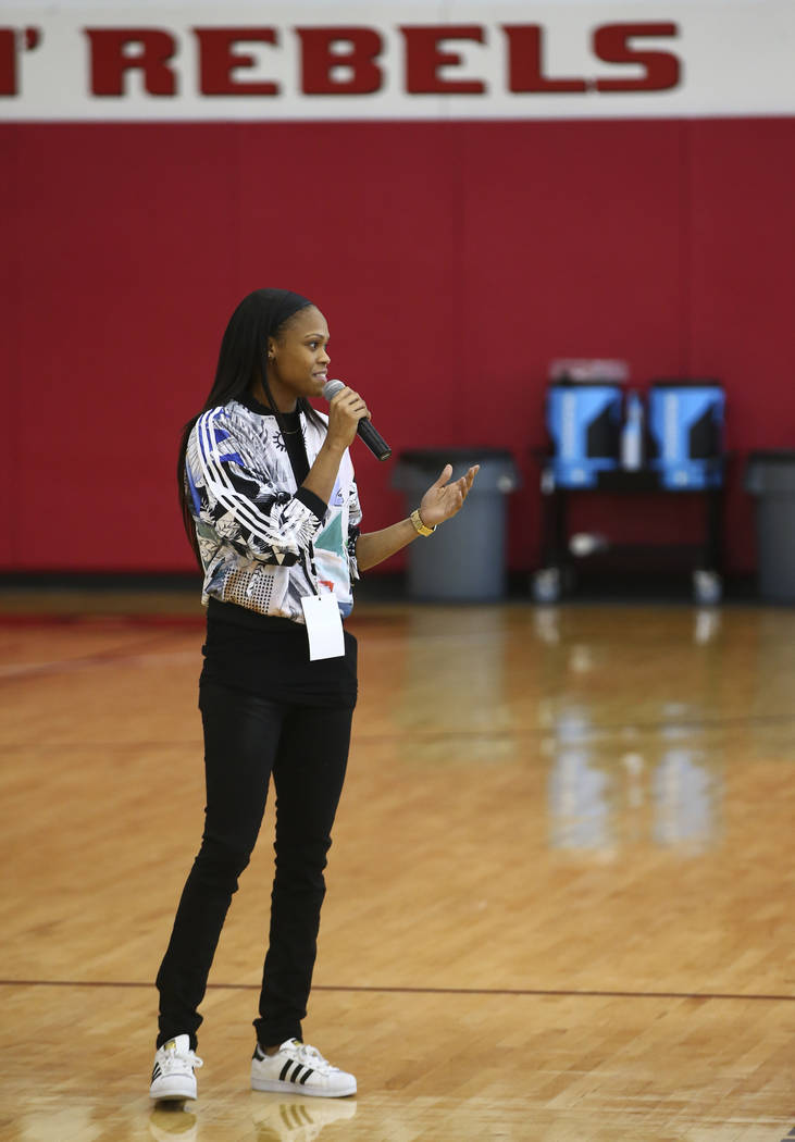 Las Vegas Aces player Moriah Jefferson talks to After-School All-Stars students from local middle schools at Mendenhall Center at UNLV in Las Vegas on Saturday, Feb. 3, 2018. Chase Stevens Las Veg ...